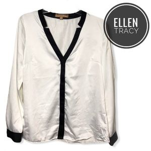 Ellen Tracy V-Neck Long Sleeve Blouse [medium]